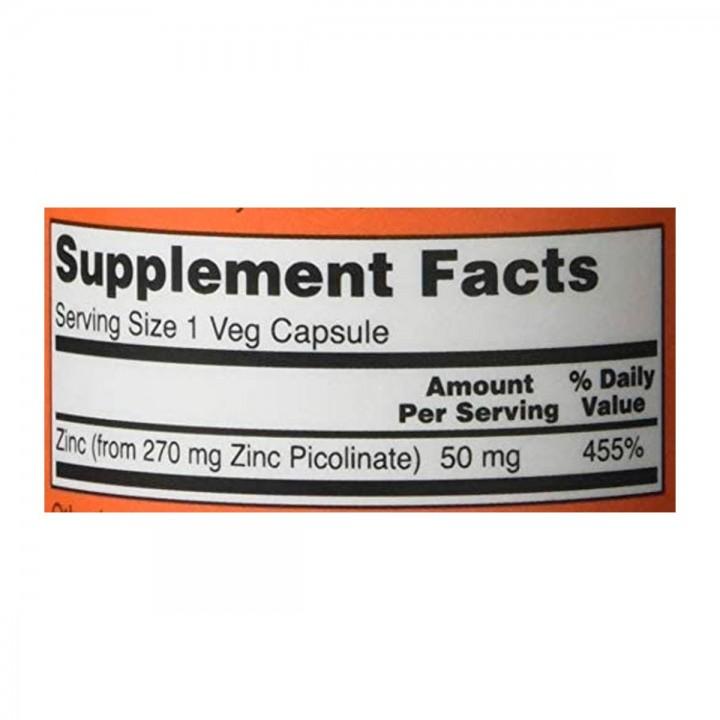 Now Picolinato de Zinc 50 mg 120 Capsulas V3121 Now Nutrition for Optimal Wellness