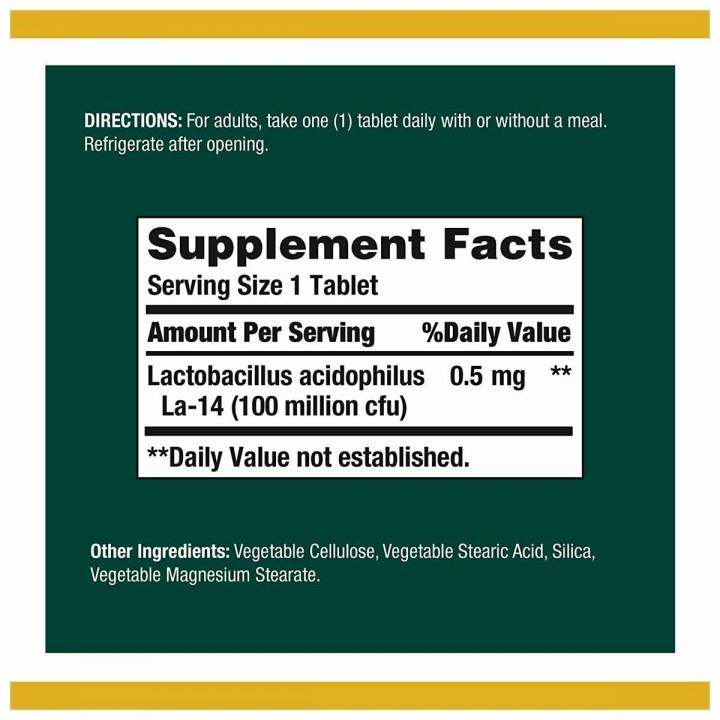 Natures Bounty Acidophilus Probiotic Apoyo al Sistema Digestivo 100 Tabletas V3101 NATURE'S BOUNTY