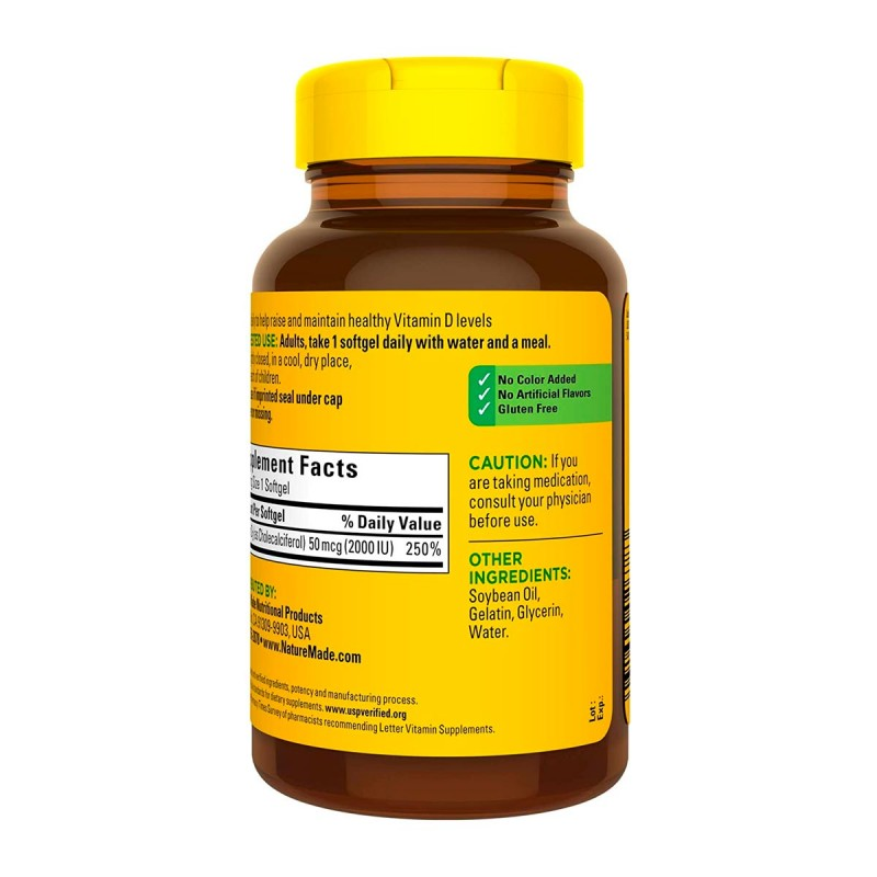 Nature Made Vitamina D3 2000 IU (50mcg) 250 Capsulas V3165 Nature Made