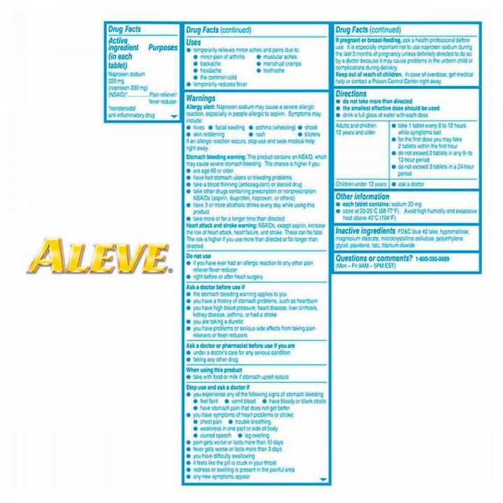 Aleve Alivio de los Dolores Leves de la Artritis 220 mg 320 Tabletas V3212 Bayer