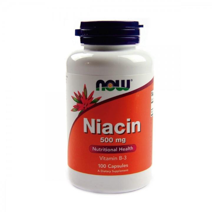 Niacina Niacin vitamina B-3 Now Foods 500 mg 100 Cápsulas V3026 Now Nutrition for Optimal Wellness