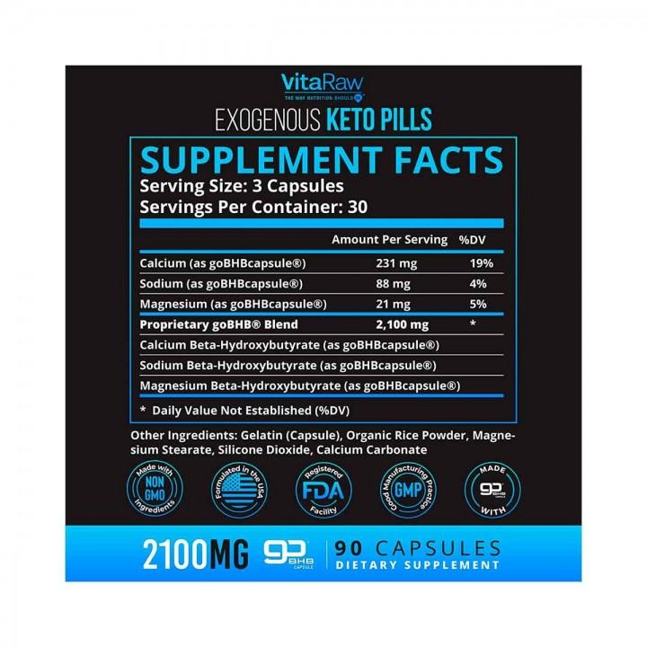 Keto Pills Quemador de Grasa VitaRaw 2100 Mg 90 Cápsulas V3222 VitaRaw