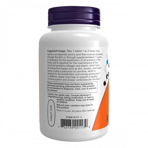 Now L-Lysine 1000 Apoyo a La Salud Inmune 100 Tabletas V3224 Now Nutrition for Optimal Wellness