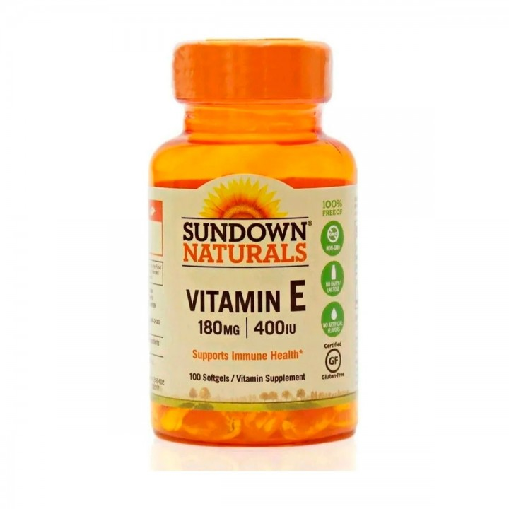 Sundown Naturals Vitamina E, 180 mg / 400 IU 100 Cápsulas Blandas V3173 SUNDOWN NATURALS