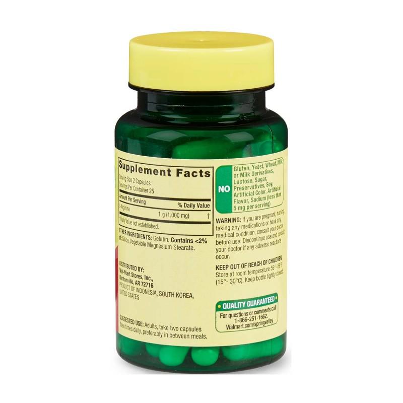 Spring Valley L-Arginine 500 Mg 50 Capsulas Apoyo a La Salud Cardiovascular V3229 SPRING VALLEY