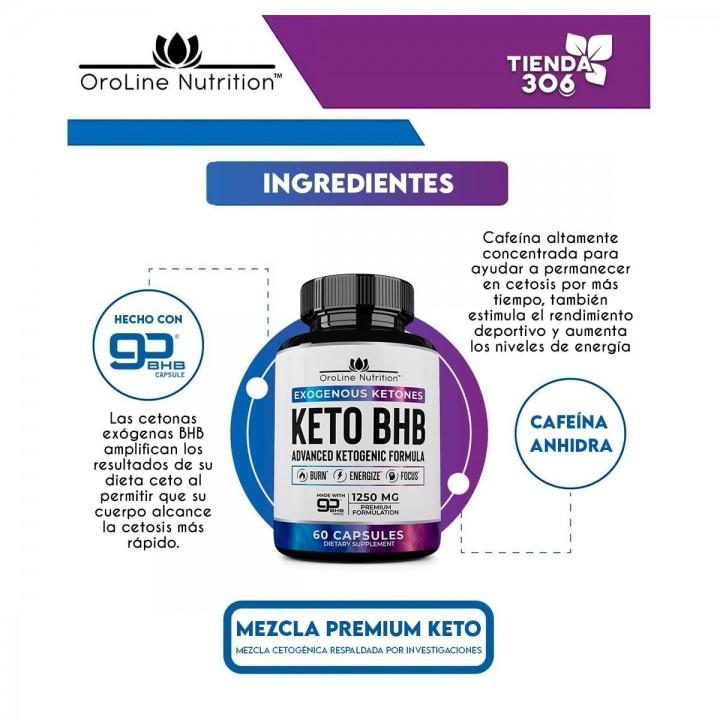 KETO BHB Quema Grasa Energizante OroLine Nutrition 1250 mg 60 Cápsulas V3220 OroLine Nutrition
