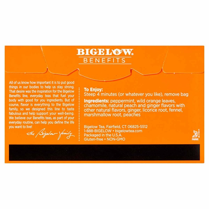 Té Bigelow Herbal Jengibre Durazno con Sabor Natural Libre de Cafeína y 18 Bolsitas 38g T2078 BIGELOW