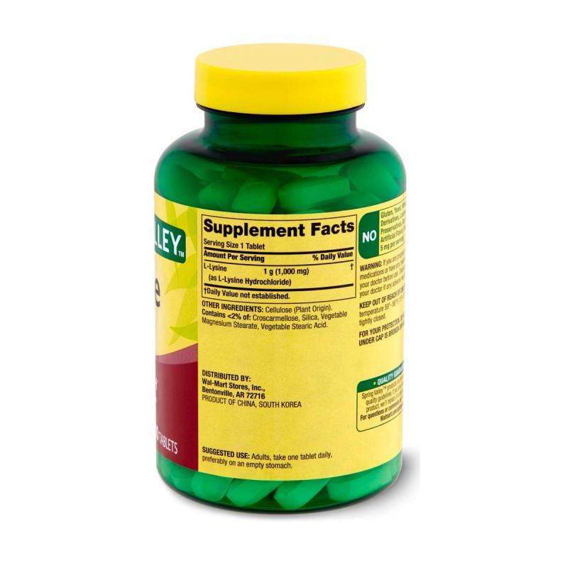 Spring Valley L-Lisina 1000 Mg 100 Tabletas Apoyo de la Salud Inmune V3265 SPRING VALLEY