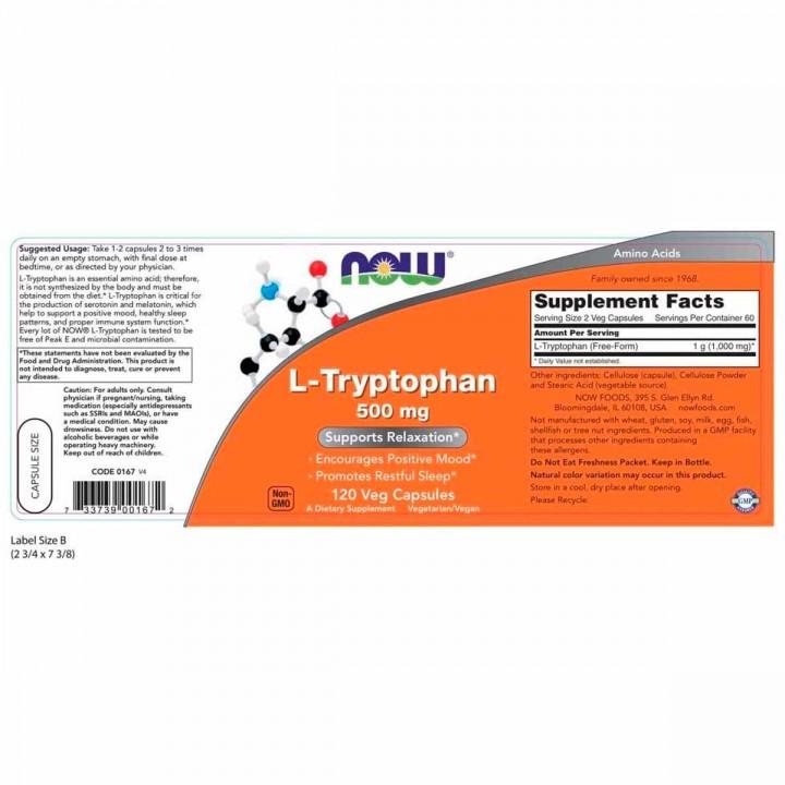 Now L-Triptofano Apoyo Al Estado De Animo Y Relajacion 500 Mg 120 Capsulas V3277 Now Nutrition for Optimal Wellness