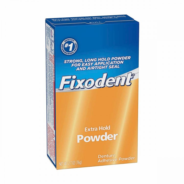 Polvo Adhesivo Para Dentaduras Postizas Fixodent Extra Hold Powder 2.7 oz (76g) C1188 FIXODENT