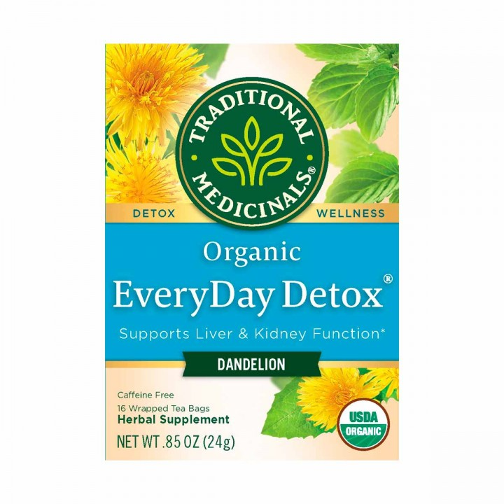 Traditional Medicinals Organic Té Herbal Diente de León Everyday Detox Libre de Cafeína 16 Bolsitas 24g T2085 TRADITIONAL MED...