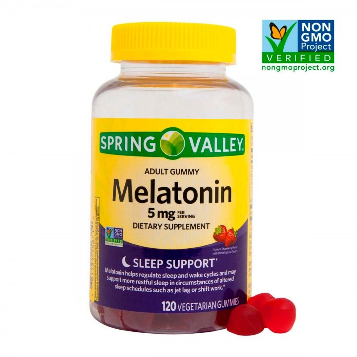 Spring Valley Melatonina 5mg 120 Gomas Sabor a Fresa V3334 SPRING VALLEY