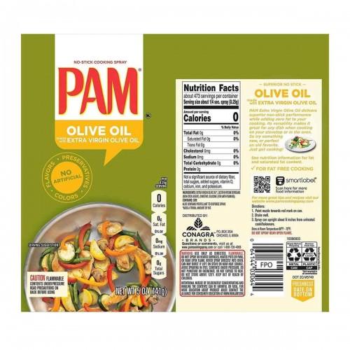 Aceite de Oliva Pam Spray Extravirgen Sin Colorante Artificiales 5 Oz D1134 PAM