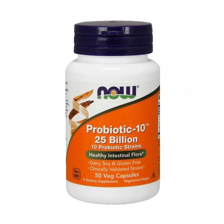 Probioticos-10 25 mil millones Now 50 Cápsulas Vegetarianas V3047 Now Nutrition for Optimal Wellness