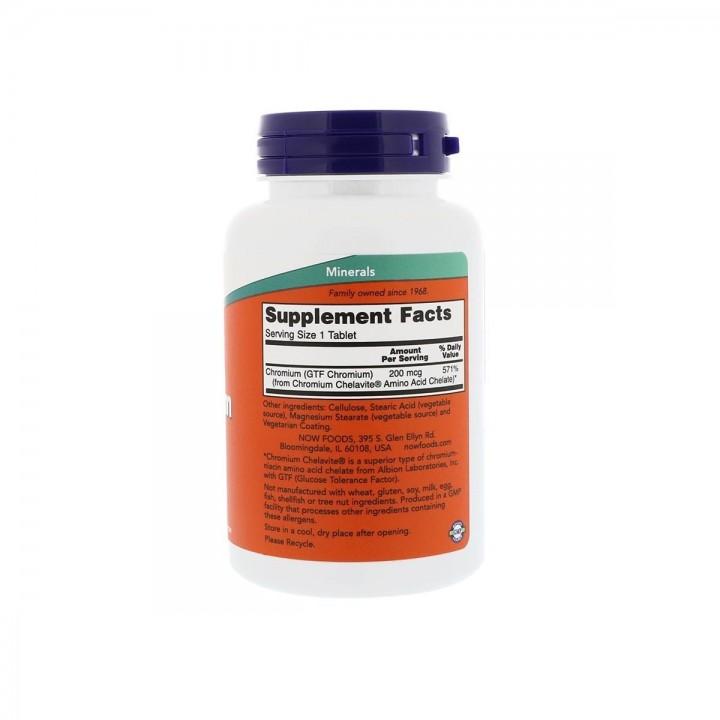 Now Foods GTF Chromium Tolerancia a la Glucosa 200 mcg 250 tabletas V3118 Now Nutrition for Optimal Wellness