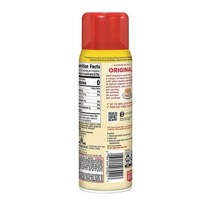 Spray antiadherente Pam Original de Aceite de Canola Cuida tu salud Tienda 306
