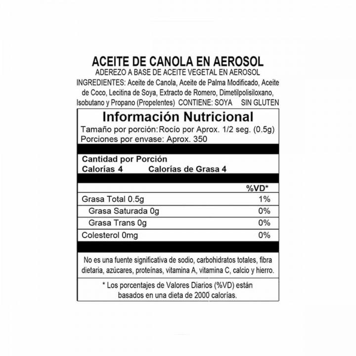Spray antiadherente Pam Original de Aceite de Canola favorece el sistema cardiovascular Tienda 306