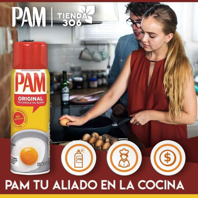 Spray antiadherente Pam Original de Aceite de Canola favorece el sistema inmunológico Tienda 306