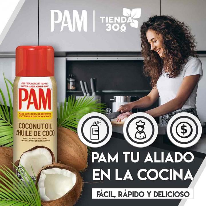 Spray antiadherente Pam Aceite de Coco Sin Colorante Artificiales 113 g D1137 PAM