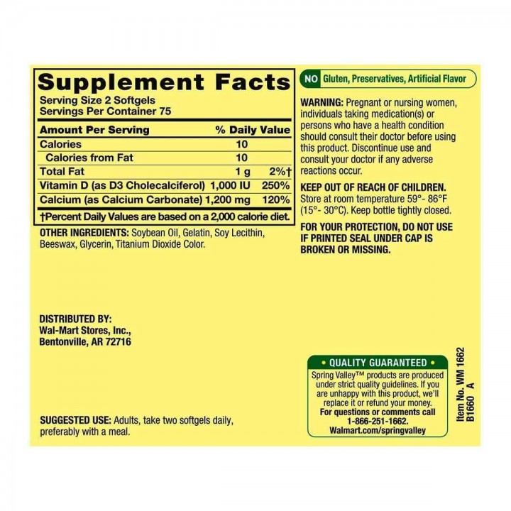 Calcio 600 mg + Vitamina D3 Spring Valley Salud Ósea 150 Cápsulas blandas V3182 SPRING VALLEY
