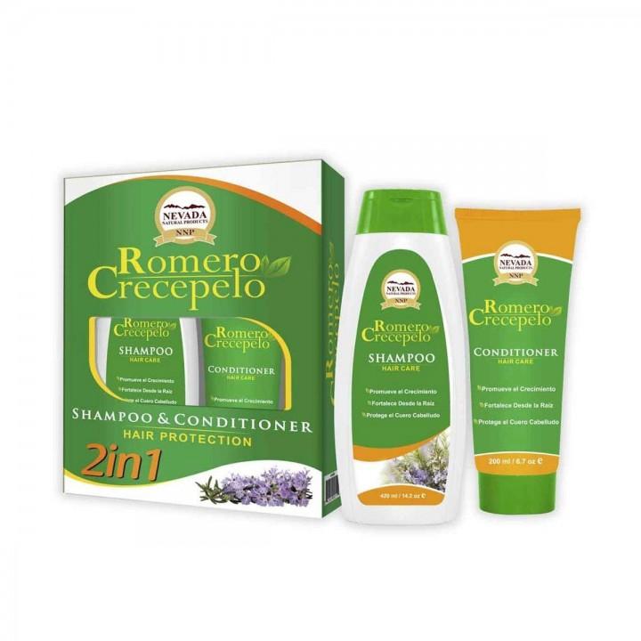Romero Crecepelo Nevada Kit Capilar Shampoo + Acondicionador 420 ml + 200 ml C1054 Nevada Natural Products