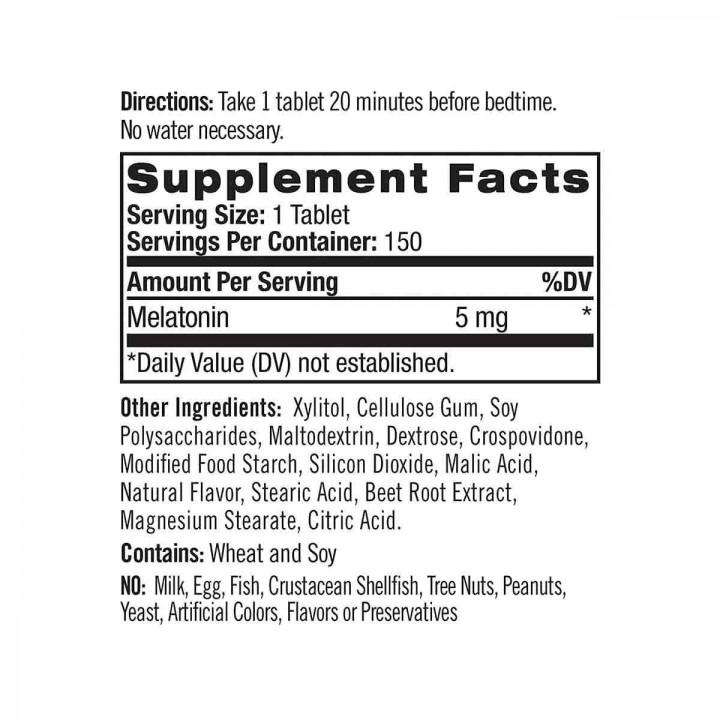 Natrol Melatonin Sueño Prolongado Sabor a Fresa 5 mg 150 Tabletas V3071 Natrol