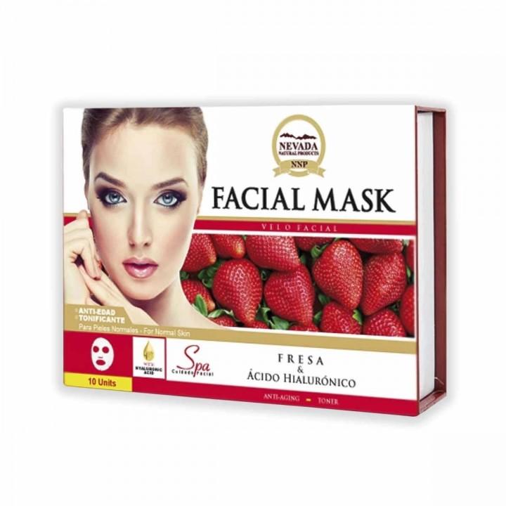 Velo Facial de Fresa y Ácido Hialurónico Nevada Natural Products Caja 10 uds x 30 g C1079 Nevada Natural Products